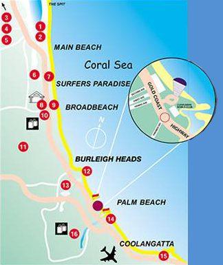 Map Golden Riviera Beach Resort Tugun Gold Coast Accommodation