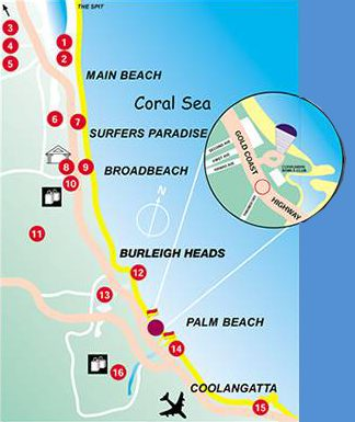 Map Royal Palm Resort Palm Beach Gold Coast Accommodation